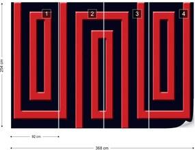 Fototapet GLIX - Red And Black Geometric Pattern + adeziv GRATUIT Tapet nețesute - 254x184 cm