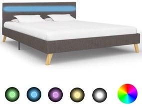 284850 vidaXL Cadru pat cu LED-uri gri deschis 160x200 cm material textil