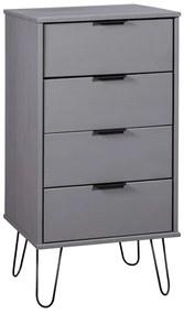 321122 vidaXL Comodă cu sertare, gri, 45x39,5x90,3 cm, lemn masiv de pin