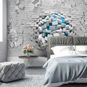 Fototapet - 3D mingea albastră și peretele alb din cărămizi (254x184 cm), în 8 de alte dimensiuni noi