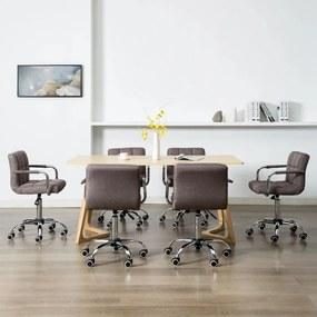 278552 vidaXL Scaune de sufragerie pivotante, 6 buc., gri taupe, textil