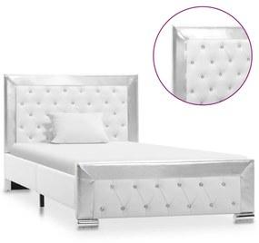 286788 vidaXL Cadru de pat, alb, 100 x 200 cm, piele ecologică