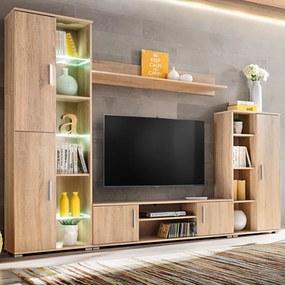 Mobilă de perete cu spațiu TV, iluminare LED, stejar sonoma