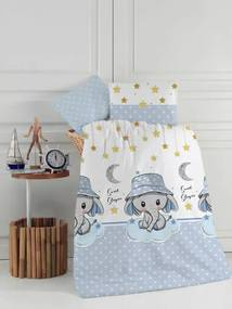 Set lenjerie patut cu 5 piese 120x60 cm Blue Elephant