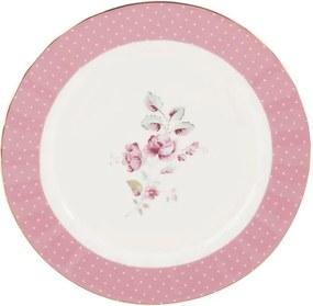 Farfurie porțelan desert Creative Tops Ditsy, roz - alb