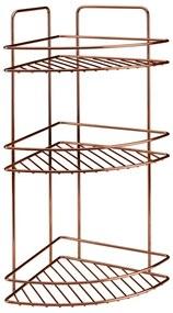 Etajeră pe colț cu 3 rafturi pentru baie Metaltex Copper