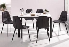 Set de living Sabine/Luna 4 scaune si o masa, lemn/metal/piele sintetica, negru/alb