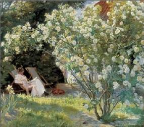 Marie in the Garden (The Roses) Reproducere, Peder Severin Kroyer, (35 x 100 cm)