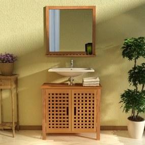 Dulap de chiuvetă cu oglindă, lemn masiv de nuc