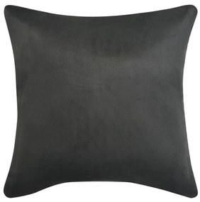 Huse de pernă din velur poliester, 40 x 40 cm, antracit, 4 buc.