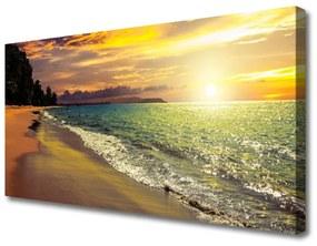 Tablou pe panza canvas Sun Sea Beach peisaj copac Verde Galben Albastru
