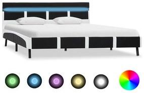 280305 vidaXL Cadru de pat cu LED, negru, 160 x 200 cm, piele ecologică
