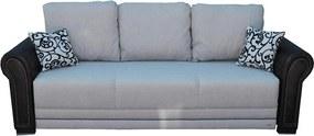 Canapea extensibilă 3 locuri, catifea gri cu piele ecologică neagră, 5 perne incluse - ALEXANDRA