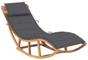 3063333 vidaXL Șezlong balansoar cu pernă, lemn masiv de tec
