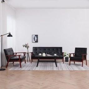 278398 vidaXL Set canapea, 3 piese., negru, piele artificială