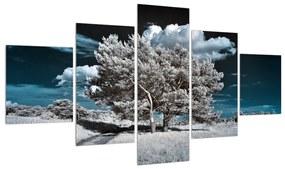 Tablou cu pom alb ca neaua (125x70 cm), în 40 de alte dimensiuni noi