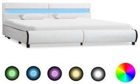 284971 vidaXL Cadru de pat cu LED, alb, 180 x 200 cm, piele ecologică