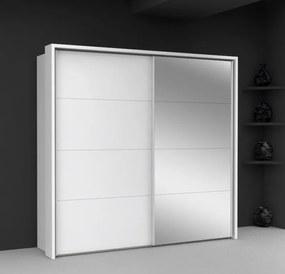 Dulap din MDF cu usi glisante si oglinda Kapor White 220x209x61 cm