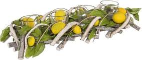 Suport lumanari lemn sticla Lemon 38 cm x 8 cm x 14 h