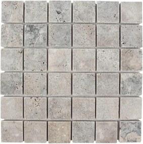 Mozaic Travertin Silver Antichizat 4.8 x 4.8 cm