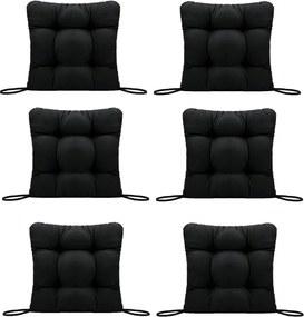 Set Perne decorative pentru scaun de bucatarie sau terasa, dimensiuni 40x40cm, culoare negru, 6 bucati