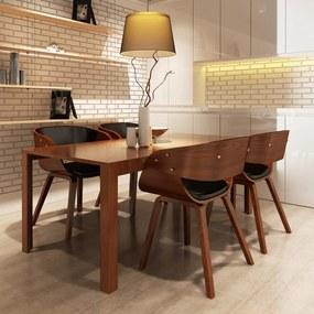 270044 vidaXL Scaune de bucătărie 4 buc., maro, lemn curbat & piele ecologică