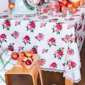 Faţă de masă vinil lavabilă TRANDAFIR cu dantelă 140 x 180 cm