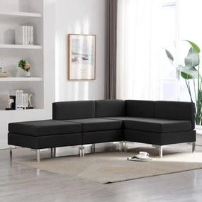 3052735 vidaXL Set de canapele, 4 piese, negru, material textil