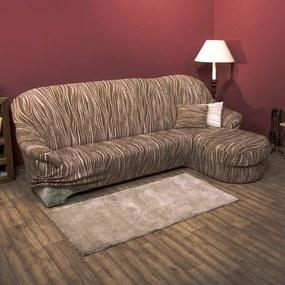 Huse cu două elastice UNIVERSO dungi maro canapea cu otoman dreapta (l. 170 - 200 cm)