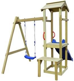 Set de joacă cu leagăn și tobogan, lemn de pin, 228x168x218 cm