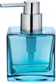 Dozator pentru sapun, din sticla, Lavit Bleu, L8xl8xH8,5 cm