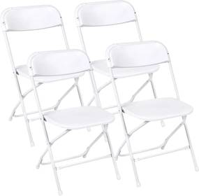 4 buc scaune pliante din plastic, alb
