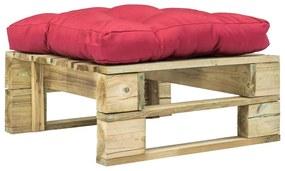 275280 vidaXL Taburet de grădină din paleți cu pernă roșie, lemn verde