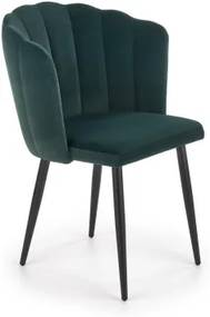 Scaun tapitat cu stofa si picioare metalice K386 Verde inchis / Negru, l60xA58xH84 cm