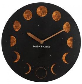 Ceas de perete din lemn Fazele Lunii