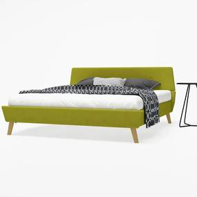 Cadru pat, bază șipci, material textil, 160 x 200 cm, verde