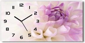 Ceas de perete orizontal din sticlă Dahlia alb