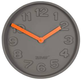 Ceas rotund de perete din ciment Concrete Time Orange