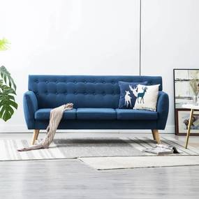 247130 vidaXL Canapea 3 locuri, tapițerie textilă, 172x70x82 cm, albastru