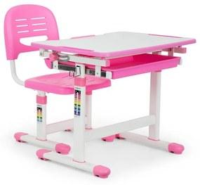 Annika, birou de scris pentru copii, set de două piese, masă, scaun, reglabil pe înălțime, roz