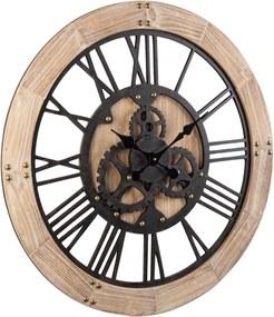 Ceas perete metal maro cu rama lemn natur Ticking 80  m x 5 cm