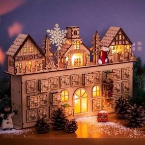 Calendar de Crăciun din lemn maro