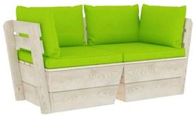 3063395 vidaXL Canapea grădină din paleți, 2 locuri, cu perne, lemn de molid