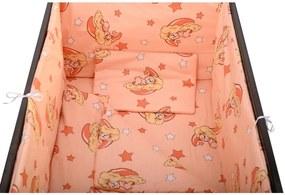 BabyNeeds - Lenjerie patut 5 piese 120x60 cm, Ursuleti somnorosi, Roz piersica
