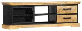 247756 vidaXL Comodă TV, negru, 120 x 30 x 40 cm, lemn masiv de mango