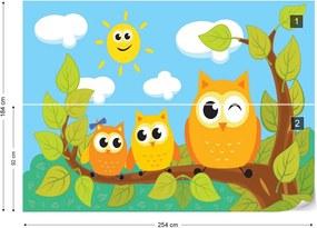 Fototapet GLIX - Kid'S Cartoon Owls In Tree + adeziv GRATUIT Tapet nețesute - 254x184 cm