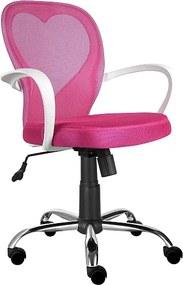 Scaun de birou tapitat cu tesatura cu membrana Daisy Pink 47x60x98 cm