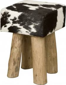 Taburet din piele de vaca Cowhide alb/negru