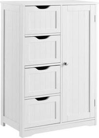 [en.casa]® Dulap baie AANT-0337, 81 x 55 x 30 cm, placa MDF, lacuit, alb, cu 4 sertare + 3 rafturi