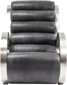 Fotoliu din lemn de eucalipt și piele de bovină Kare Design Loop, negru